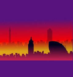 Collection of london city building silhouettes vector