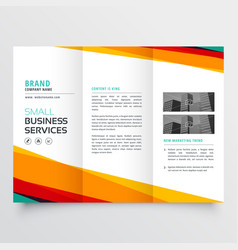 Colorful abstract business trifold brochure design vector
