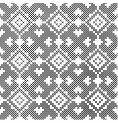 Cross stitch black and white seamless pattern vector