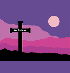 Crucifix and moon vector