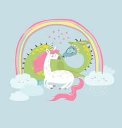 cute cartoon dragon with unicorn vector image
