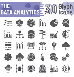 data analytics glyph icon set database symbols vector image