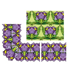 decorativ floral border and seamless pattern vector image