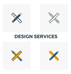 Design services icon set four elements in vector