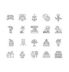 desserts shop line icons signs set vector image