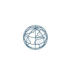 earth globe isometric icon 3d line art technical vector image