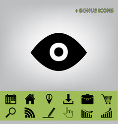 eye sign black icon at gray vector image