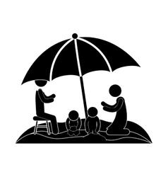 Family in beach with umbrella vector