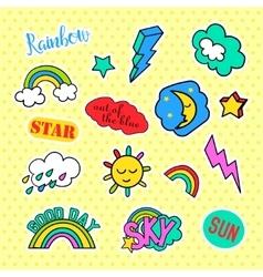 Fashion patch badges Pop art Sky set Stickers vector