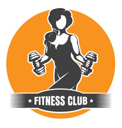 Fitness club logo with training athletic woman vector