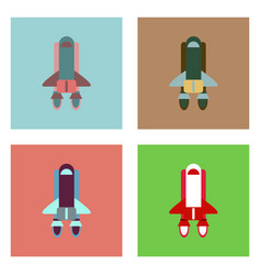 Flat icon design collection space shuttle vector