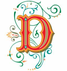 floral letter d vector image