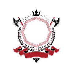 Graphic emblem composed with royal crown element vector