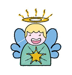 grated cute angel with wings and aureole design vector image