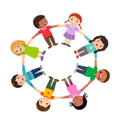 group of kids holding hands in a circle vector image