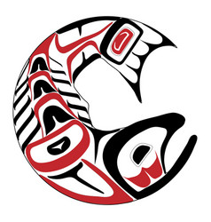 haida salmon tattoo vector image