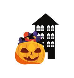 Halloween house with pumpkin candies vector