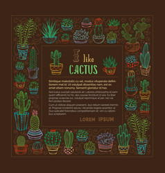Hand-drawn linear cactuses and succulents square vector