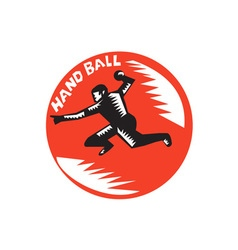 Handball Player Jump Striking Circle Woodcut vector
