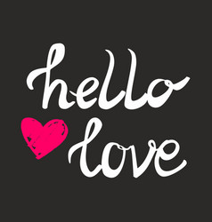 hello love card with pink heart vector image