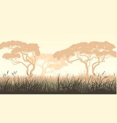 Horizontal meadow grass and african acacia vector