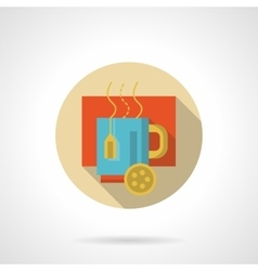 Hot tea with lemon flat round icon vector image