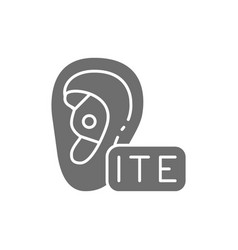 In ear hearing aid ite gray icon vector