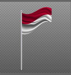 Indonesia waving flag on metal pole vector