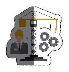 Isolated crane tool and architect design vector