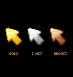 isolated golden silver and bronze arrows vector image