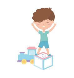 kids zone cute little boy alphabet block train vector image