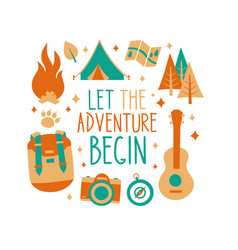 Let the adventure begin inscription card t-shirt vector