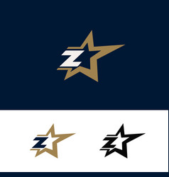 letter z logo template with star design element vector image