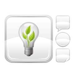 Light bulb with sprout icon on silver button vector image