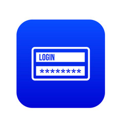 Login and password icon digital blue vector