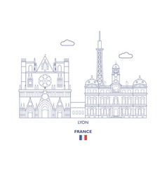 lyon city skyline vector image
