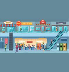 Mall interior retailers hypermarket commercial vector