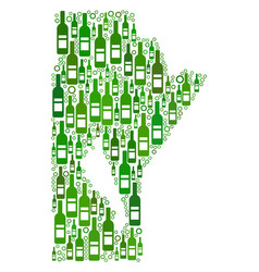 Manitoba province map collage of wine bottles and vector