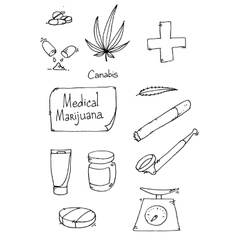 Medical marijuana set vector