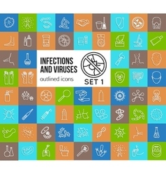 Mega collection of outline infections and viruses vector image