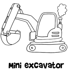 Mini excavator of art vector image