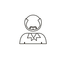 Monochrome contour with half body bald man with vector