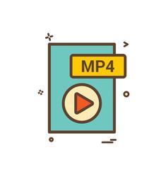 Mp4 file format icon design vector