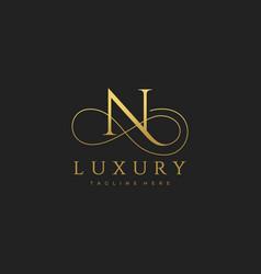n luxury letter logo design vector image