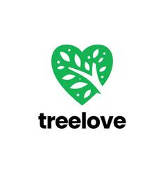 nature love tree heart valentine logo icon vector image