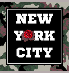 new york city print with rose vector image