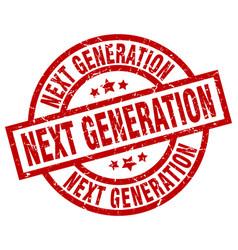 Next generation round red grunge stamp vector