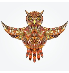 Ornamental hand-drawn owl vector image