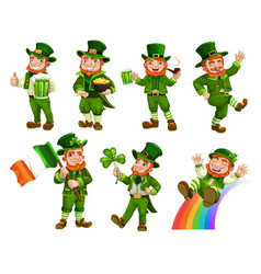 patricks day leprechauns with beer flag clover vector image