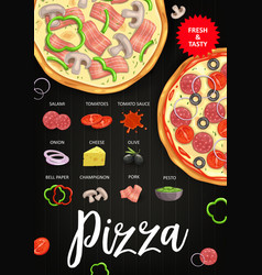 pizza ingredients italian fast food recipe vector image